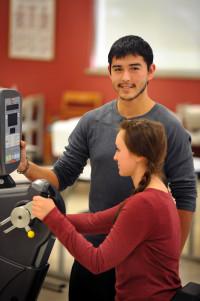 Zabdiel Vallejo and Jessica Hebel participate in PTA lab exercises.